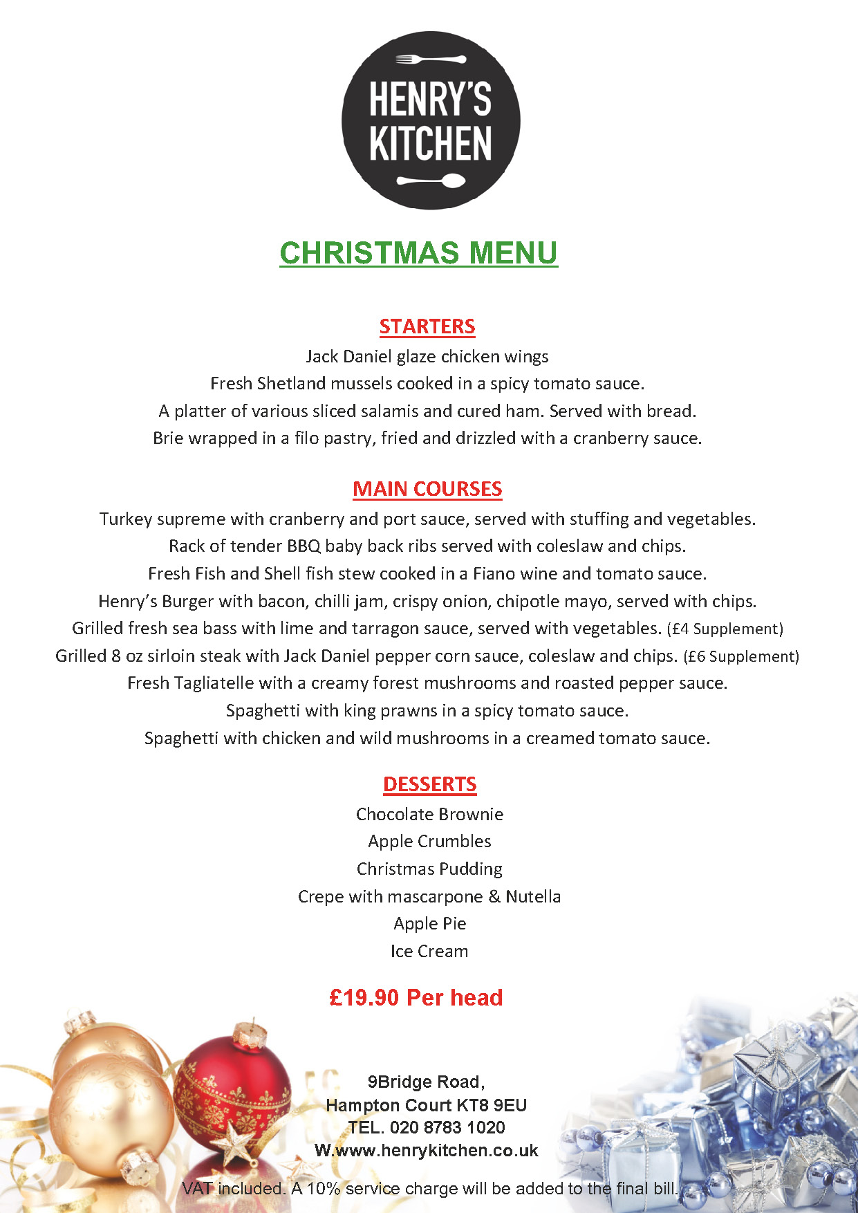 Christmas menu henrys kitchen restaurant in hampton court for H kitchen paris menu
